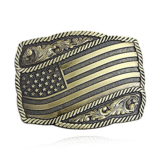 HQ Vintage Celtic Knot Belt Buckle, Fashion Western Belt Buckle Cowboy Belt Buckle for Men (Bronze National flag)