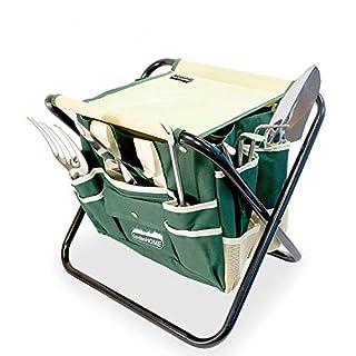 scheda gardenhome set di attrezzi da giardino 7 pezzi kit giardinaggio, utensili da giardino in acciaio inossidabile con sgabello pieghevole e borsa