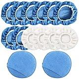 FineGood Lot de 14 bonnets de polissage en microfibre pour lustrage et cirage avec poche pour les doigts - Bleu, blanc
