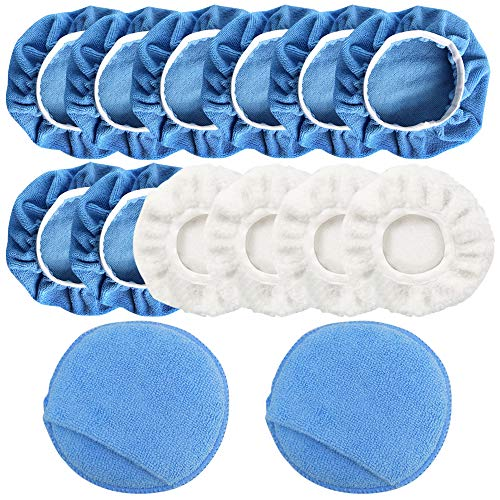 FineGood 14 Stück Auto-Polierpad Applikator Pad, Mikrofaser Polierhaube und Wachspad mit Fingertasche – Blau, Weiß