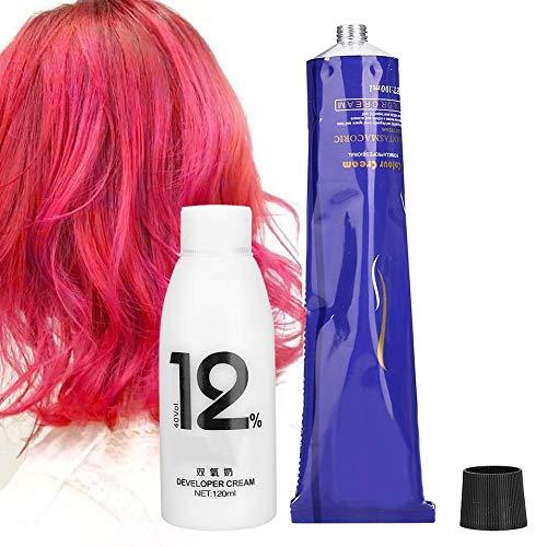 100 ml + 120 ml Haarverf Crème 3D Felle Kleur Haarperoxide Haarverven Kleuring Crème Kapsel Tool Kleurverloop Kleurstof Crème(Roze)