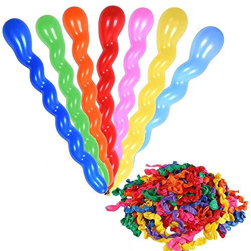 REYOK Spiral Long Balloons Modellierung Ballons, 200pcs Luftballons Bunt Magic Modellierballons mit 1 Ballonpump für Feiern Geburtstage Clowns Veranstaltungen Dekoration