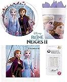 Kit Disney Frozen 2 II de 52 piezas 16 niños cumpleaños (16 platos, 16 vasos, 20 servilletas + 10 velas mágicas) fiesta Anna Elsa