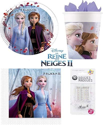 Kit Disney Frozen Frozen 2 II 52 Pezzi 16 Bambini Compleanno (16 Piatti, 16 BICCHIERI, 20 Tovaglioli + 10 Candele Magiche) Festa Anna Elsa