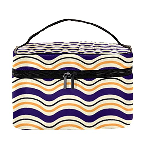 Bolsas de maquillaje para mujeres y nis Estuche organizador de cosmicos de mano bolsa portil de viaje bolsa de aseo Halloween naranja y rayas blancas, Multicolor 6 Neceser