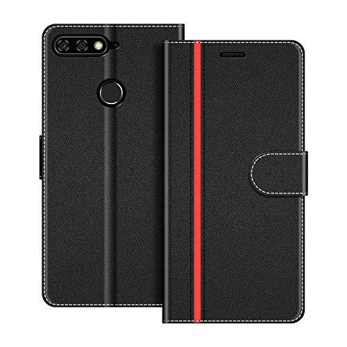 COODIO Handyhülle für Huawei Y7 2018 Handy Hülle, Huawei Y7 2018 Hülle Leder Handytasche für Honor 7C / Huawei Y7 2018 Klapphülle Tasche, Schwarz/Rot