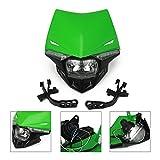 Universal Motorcycle Supermoto Headlight LED Dirt Bike Headlight Front Head Light For KX65 KX85 KX125 KX250 KX500, Green