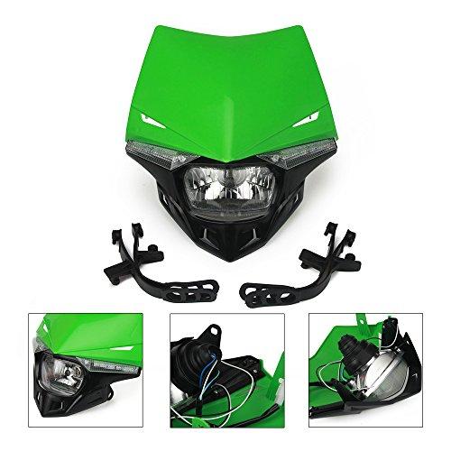 Eine Xin grün Universal Motorrad Scheinwerfer Scheinwerfer Licht Verkleidung LED Drehen Signal Lichter Street Fighter Maske Day Running Light Kawasaki KX125 KX250 KX250F KX450F KLX250 Motorräder
