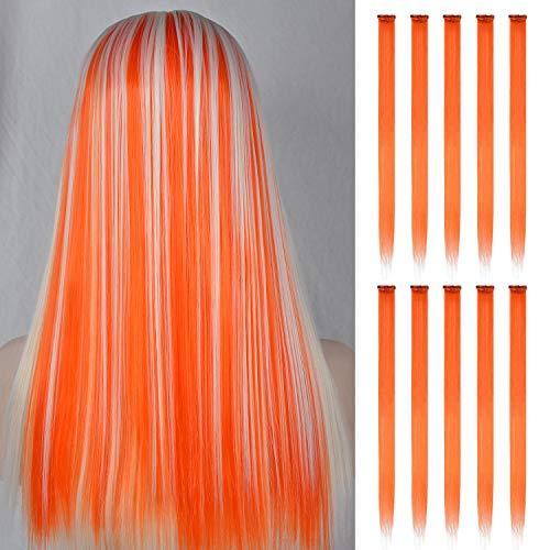 FESHFEN Farbige Haarverlängerung, 10 PCS Orange Haarteil für Mädchen Princess Party Highlight Bunte glatte Haarverlängerungen Clip in Kostümen Haarteil für Mädchen, 50cm