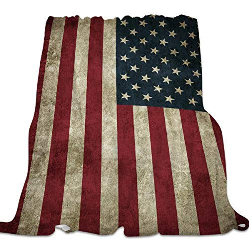 Singingin Ultra Soft Flannel Fleece Bed Blanket American Flag Vintage Design Throw Blanket All Season Warm Fuzzy Light Weight Cozy Plush Blankets for Living Room/Bedroom 40 x 50 inches