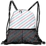 ARRISLIFE 3D-Rucksack für Erwachsene, Pastellrosa, Blau, Weiß, gestreift, für Reisen