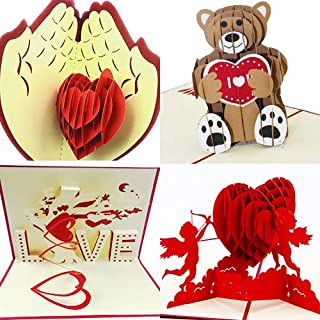 3D Valentines day Set of 4 Pop up Greeting Cards For Her or Him | Elegant & Personalized Heart Love | Unique & Romantic Handmade Card Designs | Ideal Gift for Boyfriend, Girlfriend, Husband & Wife