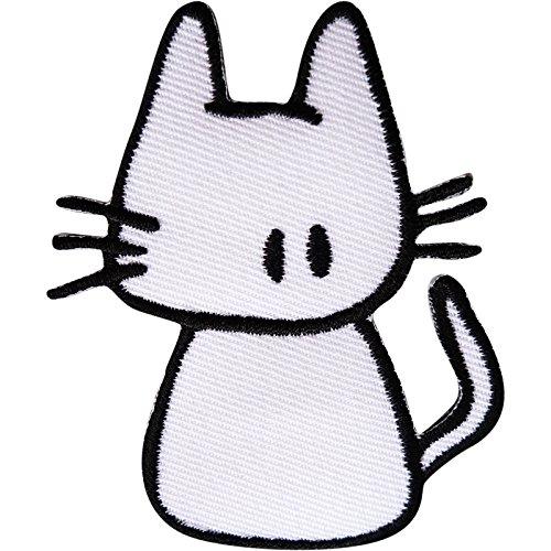 Aufnäher mit Katzen-Motiv, bestickt, zum Aufbügeln oder Aufnähen auf Kleidung, Tasche, Tier-Stickerei