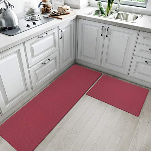 """Kitchen Rugs and Mats Cushioned Anti Fatigue Comfort Runner Mat for Floor Rug Waterproof Standing Rugs Set of 2,18""""x30""""+18""""x59"""", Red"""