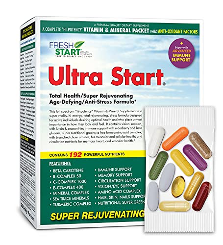 Ultra Start - Complete Daily Vitamin Pack - Anti-Aging, Anti-Stress, Energy, Immune Booster - Essential Vitamins, Minerals, Herbs, Antioxidants, Amino Acids, Turmeric, Grass Juice Powders (30 Packets)