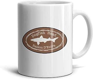 NIANLJHDe White Funny CeramicTea Dogfish-Head-Raison-D'extra-Logo- Mug