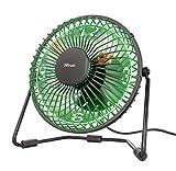 Trust Victu - Ventilador de sobremesa (Reloj LED, USB, 120 mm, Cable de 180 cm) Negro y Verde