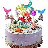 Sirena Decoracion Tarta,Sirena Cake Topper,Decoracion Cumpleaños Sirena,Mermaid Cake Topper para Fiesta de Cumpleaños,Fiesta de Bodas,Mermaid Theme Party Decoration (B)