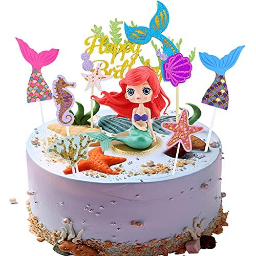 MQIAN Decorazioni Torta Sirena,Sirena Topper Torta,Cake Topper Personalizzato,Sirena Cupcake Toppers,Sirenetta Compleanno Decorazioni per Matrimonio,Festa di Compleanno (B)