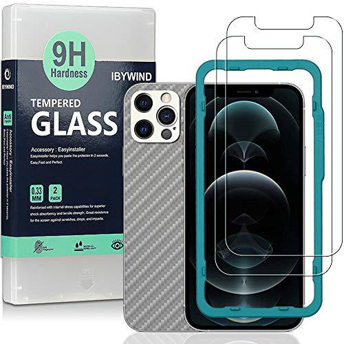 """Ibywind Cristal Templado para iPhone 12 Pro Max(6.7""""), [2 Piezas],con Protector de Lente de Cámara(Plata),Atrás Pegatina Protectora Fibra de Carbono,Incluyendo Kit de instalación fácil"""