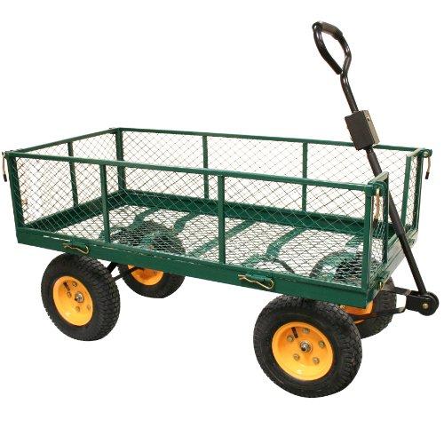 Rhyas Heavy Duty Garden Trolley Cart Wheelbarrow Quad Trailer X Large 500kg
