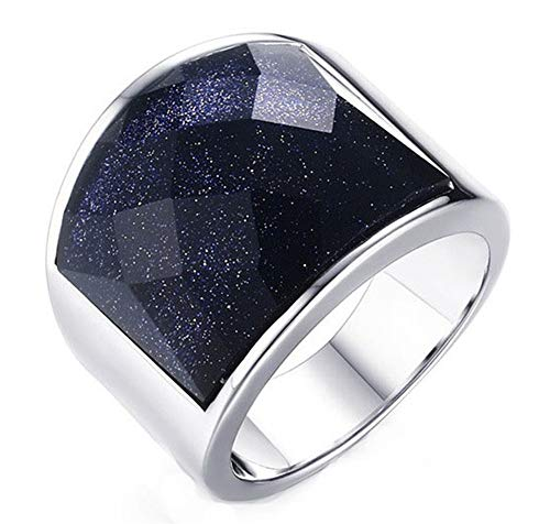 Wibbosad Wunderschönen Sternenhimmel Himmel 19MM Blau Sandstein Kies Rostfreier Stahl Ringe Für Männer,Größe 65 (20.7)