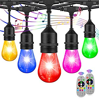 2-Pack LED RGB String Lights, Outdoor Patio String Lights Color Changing, Dimmable Lights with S14 Edison Bulbs Sync with Music, Commercial Waterproof&Shatterproof Stirng Lights for Café Backyard 96FT