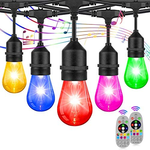 2 Pack LED RGB String Lights Outdoor Patio String Lights Multi Color Dimmable Lights with S14 product image