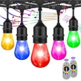 2-Pack RGB Outdoor String Lights, Patio Cafe String Lights Multi-Color, Dimmable Lights with S14 Edison Bulbs Sync to Music, Commercial Waterproof & Shatterproof String Lights for Café Backyard 96FT