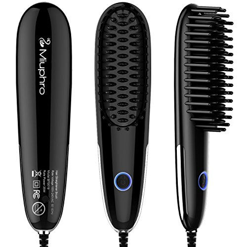 Miuphro Mini Hair Straightener Brush+Adjustable Temperature Fast Heating Hair Straightening Brush,...