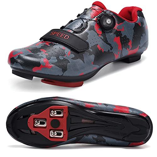 SWISSWELL Zapatillas de ciclismo de carretera para hombre compatibles con SPD/SPD-SL y tacos de bloqueo y hebilla de rotación rápida, (rojo camuflaje ), 44.5 EU