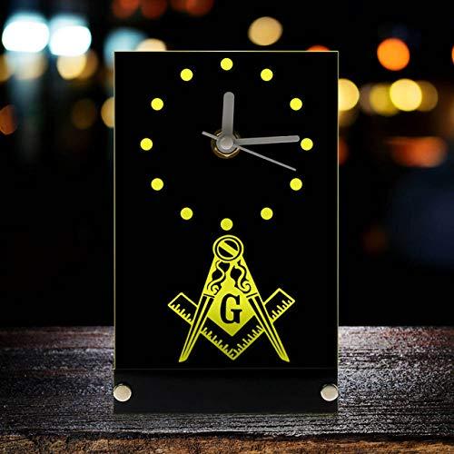 HIDFQY Freemason Mason Freemason Reloj electrónico Reloj Logo de masonería Plaza y brújula Logo de masonería Logo Logo Reloj de Escritorio Reloj con luz de Fondo LED Amarillo