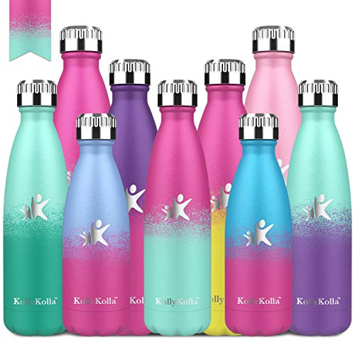 KollyKolla Vakuum Isolierte Edelstahl Trinkflasche, 500ml BPA Frei Wasserflasche Auslaufsicher, Thermosflasche für Kinder, Schule, Mädchen, Sport, Outdoor, Fahrrad (Barbie Rosa & Macaron Grün)