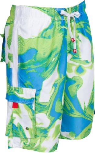 Sakkas 018113B Hommes Short Conception Vagues Multicolore Patins Planche de Surf/Maillot de Bain (Tailles et Couleurs Variées) - Bleu/Moyen