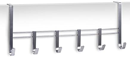 Zeller 13897 Door Hanger Rail with 6 Hooks 51 x 20.5 x 10 cm Chrome-Plated Metal