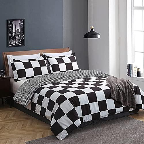 Nyescasa - Juego de cama a cuadros (135 x 200 cm, funda nórdica de microfibra de 135 x 200 cm y 1 funda de almohada de 80 x 80 cm)