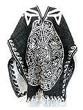 Del Mex Authentic Mexican Poncho Cobija Gaban Blanket -Black & White (Aztec Calendar)