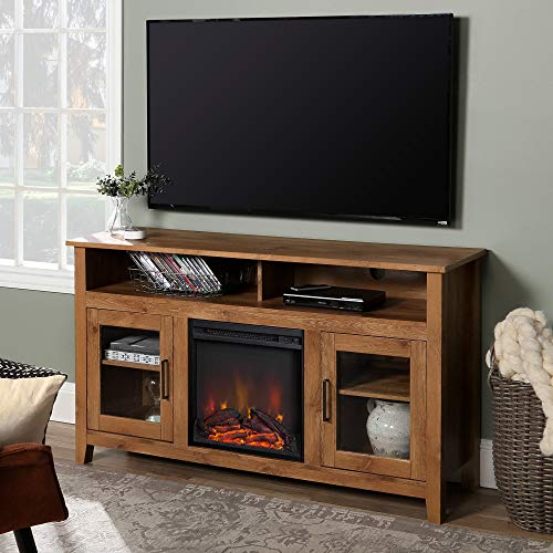 WE Furniture Tall Rustic Wood Fireplace Stand for TV's up to 64' Living Room Storage, Barnwood Brown
