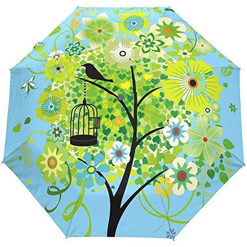 Blumen Blumen Baum Frühling Sommer Auto Open Umbrella Sun Regen Regenschirm Anti UV Folding Compact Automatic Umbrella