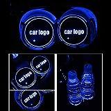 Hereb - Tapete para taza con logotipo LED para coche, 7 colores cambiantes de carga USB, posavasos para botellas, lámparas de ambiente de coche