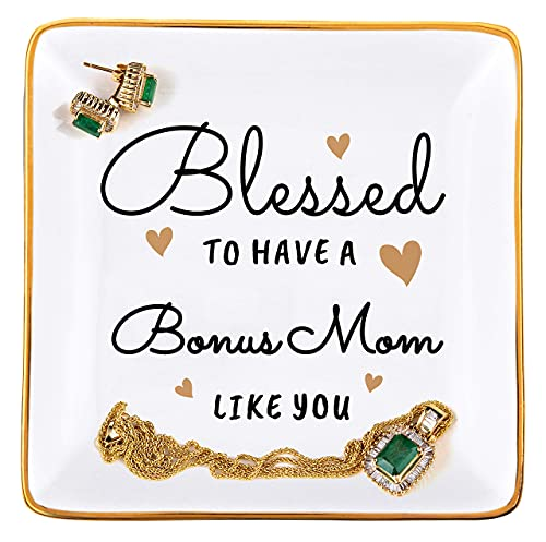 RELISSA Gifts for Stepmom for Mother's Day or Birthday, Jewelry Tray Trinket Dish, Gift for Mother Figure (Bonus Mom)