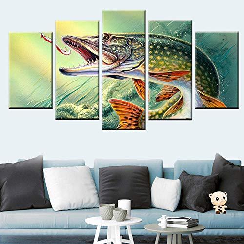 Hd Druck 5 Stücke Druck Angeln Hecht Fisch Malerei Poster Leinwand Malerei Wohnzimmer Schlafzimmer Dekoration Malerei 40X60 Cmx2 40X80 Cmx2 40X100 Cm Ungerahmt