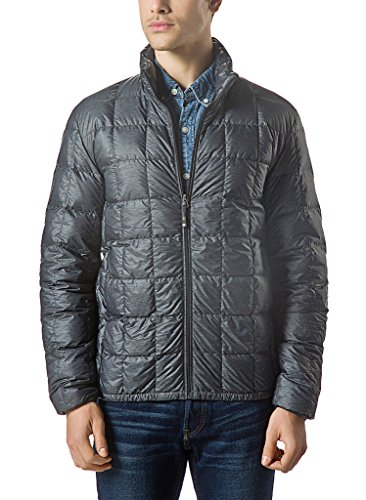 XPOSURZONE Men Packable Down Quilted Puffer Jacket SH.Charcoal Melange Lightweight Puffer Coat L