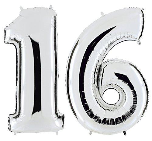 PartyMarty Ballon Zahl 16 in Silber - XXL Riesenzahl 100cm - zum 16. Geburtstag - Party Geschenk Dekoration Folienballon Luftballon Happy Birthday Jubiläum