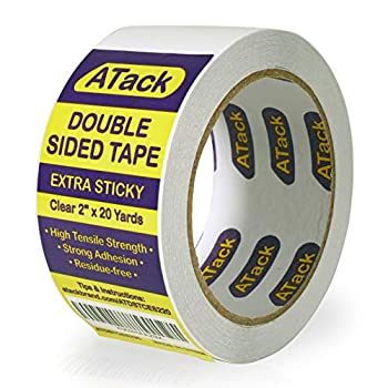 ATack Extra Sticky Clear Double-Sided Tape Removable 2-Inch x 20-Yards - Wall Safe Heavy-Duty Double Sides Self Sticky Wall Fabric Tape for Wood Templates Furniture Leather Curtains and Craft