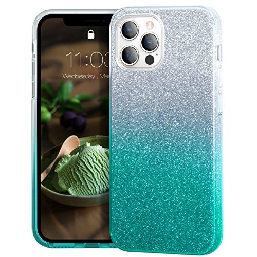 MATEPROX Glitter Cristal Brillante para Funda iPhone 12 Pro MAX, TPU Bumper Anti-Golpes Bling Protector Cover Funda para iPhone 12 Pro MAX 6.7'' 2020-Verde Degradado