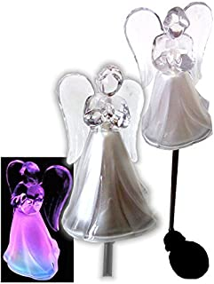 Solar Powered Angel w/Frosted Skirt Garden Stake Landscape Color Change Lights (Set of 2)