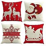 Gspirit 4 Pack Navidad Santa Claus Elk Algodón Lino Throw Pillow Case Funda de Almohada para Cojín 45x45 cm