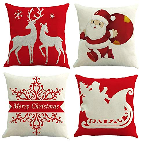 Gspirit 4 Pack Navidad Santa Claus Elk Algodón Lino Throw Pillow Case Funda de Almohada para Cojín 45x45 cm