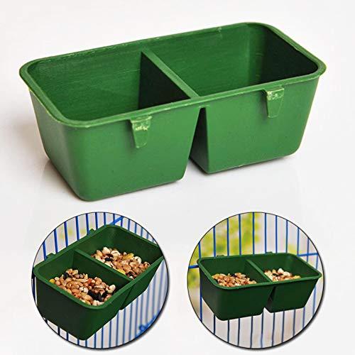 HYXGY 1pc plástico Pet loros alimentos tazón de agua doble alimentación taza para aves palomas loros jaula agua alimentador mascotas aviario agua cuencos